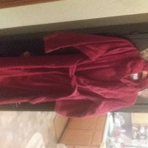 Womens terry bath robe with headband
